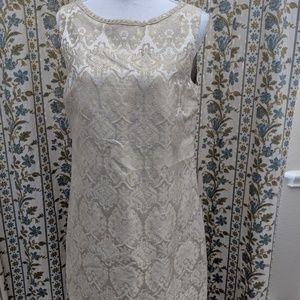Elie Tahari Dress 10 Champagne Midi Sheath Silk Bl